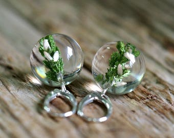 White Heather Round Earrings, Forest Jewelry, Resin Earrings, Bridal Jewelry, Wedding Day, Botanical Earrings