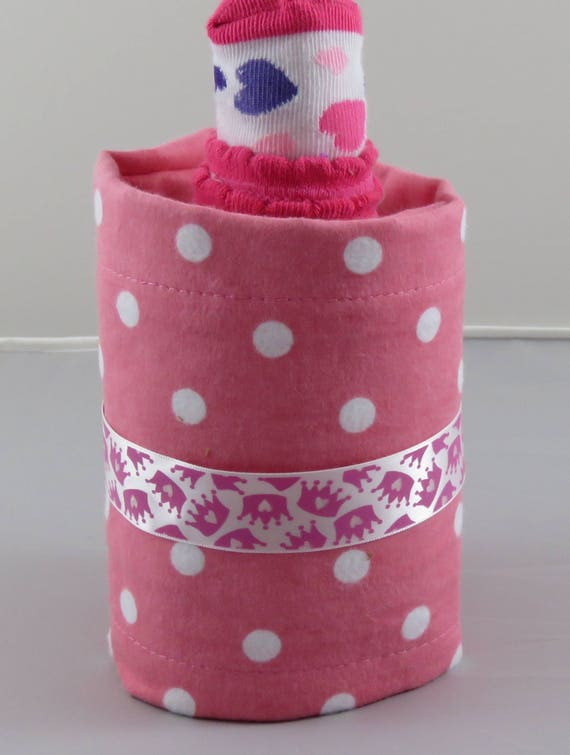 Pink with White Polka Dot Diaper Bottle. baby Shower Gift