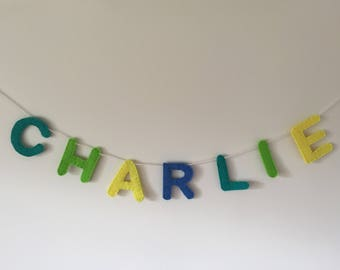 Personalised felt name garland