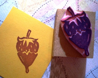 Chocokate covered Strawberry rubber stamp//hand carved rubber stamp