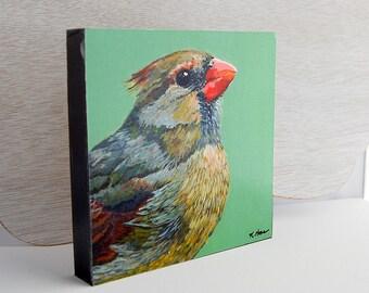 Female Cardinal Print 6x6 on Wood Block Ready-to-Hang Bird Art from Original Acrylic Painting