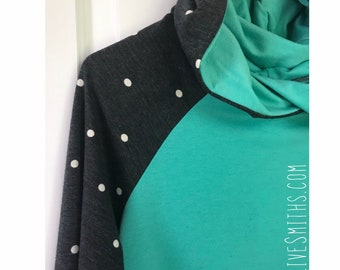 Polka Dot and Jade French Terry Hoodie- Size Large