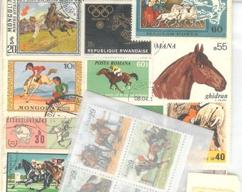 Vintage Package of 14 Horse Canceled Postage Stamps plus 4 Mint Condition 29 cent US Horse Stamps