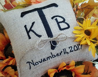Wedding - Rustic Ring Bearer Pillow