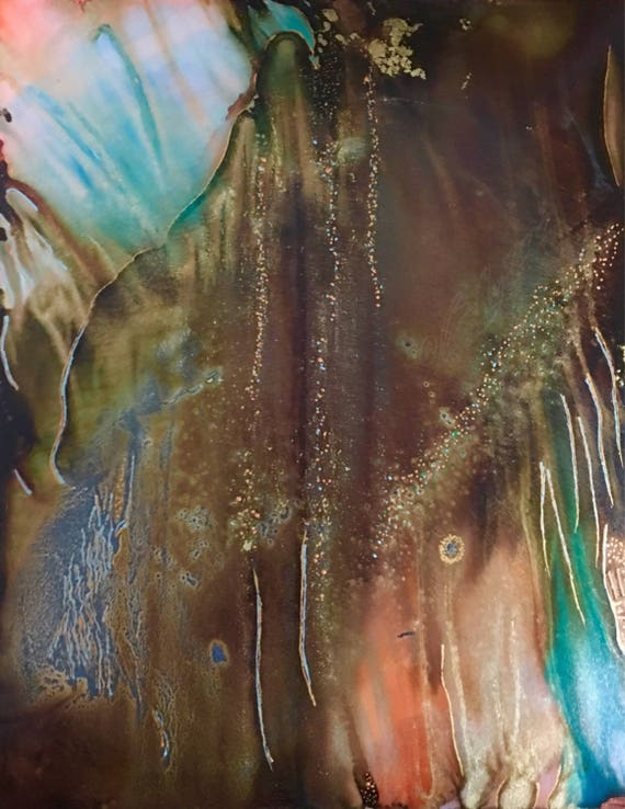 """Original Alcohol Ink (Mixed Media) Abstract Painting: """"In The Wild"""" (11"""" X 14"""")"""