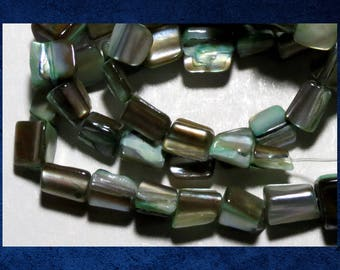 """Mother of Pearl Shell, Green - 15"""" strand of 4x8mm flat rectangle shell beads. #MOP-072"""