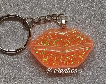 Glitter orange lips keyring