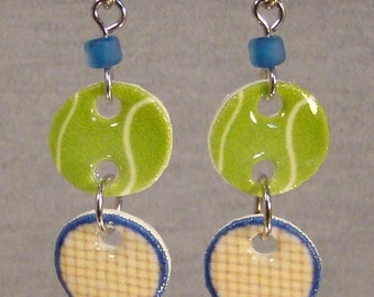 Tennis Racket Dangle Earrings - Sports Jewelry - Tennis Ball Jewellery