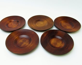 Chataku/Yunomi Saucer.Wooden coasters.Yamanaka-nuri.Set of 5.#urs9.msjapan.japanese wooden craft