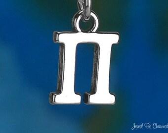 Solid Sterling Silver Greek Letter Pi Charm Fraternity Sorority .925
