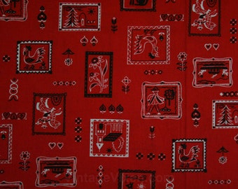 Red Handkerchief Fabric - 2 Yards x 37.5 Inches Wide - 50s Red White Black Novelty Print - Cowboy - Rooster - 1950s Yardage - Casual - 45331