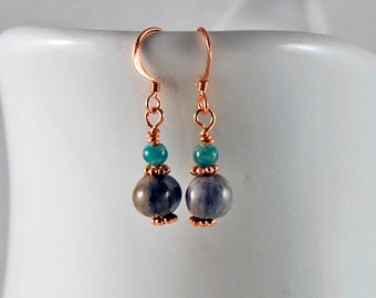Natural Job's Tears earrings with Amazonite and copper