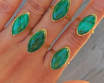 Malachite Gold Ring // Malachite Ring // Malachite