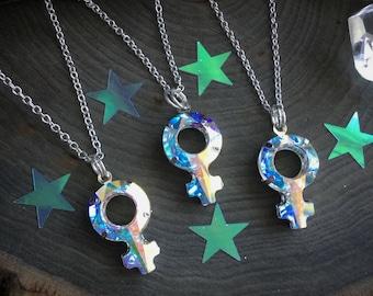 Large Crystal Venus symbol necklace, 30mm Swarovski Crystal AB Female symbol necklace