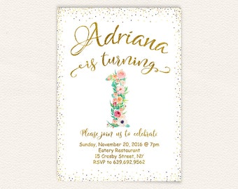 First birthday, birthday party, white and gold, birthday invitation, watercolor floral, girl birthday, 1st birthday, floral invitation 50
