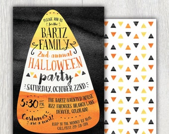 Printable Halloween party invitation - Candy corn - Watercolor - Fall Autumn birthday party - Trick or treat candy invitation - Customizable