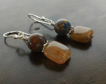 Jasper and Carnelian Earrings, Sterling Silver Earrings, Gift for Her, Drop Earrings, Blue Earrings,Jasper Earrings,Gift for Her