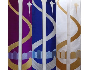 Come to Bethlehem and See -- Clergy Stole for Advent With Bethlehem Road Design