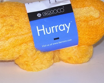 Berroco HURRAY Bright Yellow Multi Color Mohair Blend Yarn 1 Hank/8602