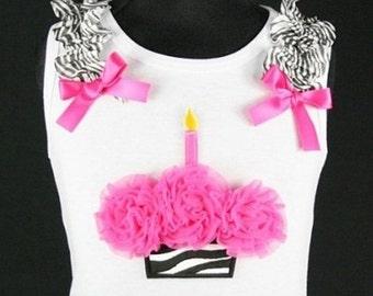 Zebra Birthday Cupcake Tank Top - 1 Candle