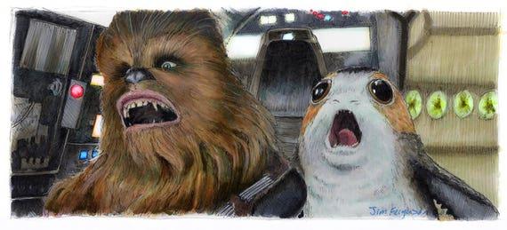 Star Wars - The Last Jedi- Chewie and Porg  Print