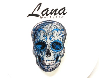 Day of the dead, Skull blue, blue skull, brooch skull, jewelry skull, pin skull, clay skull, blue pin, blue jewelry