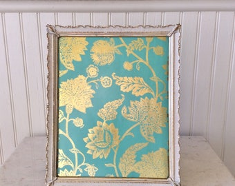 Vintage 8 x 10 Ornate Picture Frame, White & Gold, Wedding, Special Occasion, Shabby Chic, French Country, Cottage