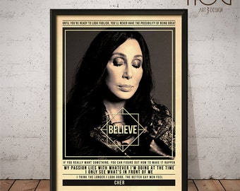 CHER Poster - Quote Retro Music Poster - Music Print, Wall Art