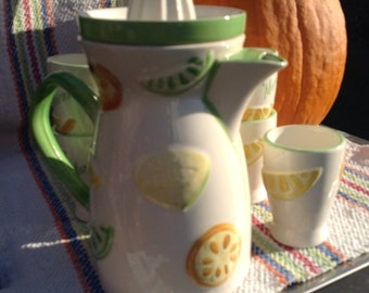 Lemonade: pot and drinks, lemonade, vintage, retro, small lunch