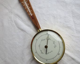 Airguide Barometer Thermometer Vintage Weather Station Wood 1960s