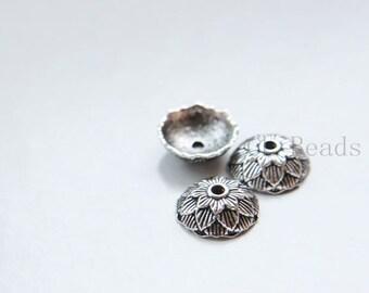 30pcs Oxidized Silver Tone Base Metal Caps-12x4mm (16205Y-E-543)