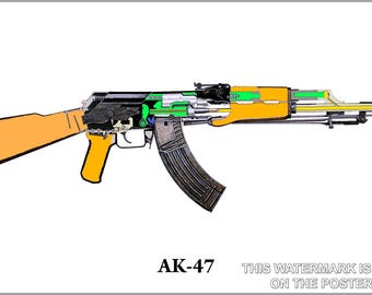 Poster, Many Sizes Available; Ak-47 Schematic