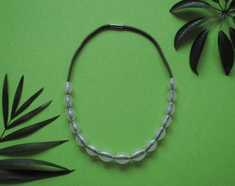 3D printed Bead Necklace, Recycled PET Bottles and green Paracord Rope Neckace