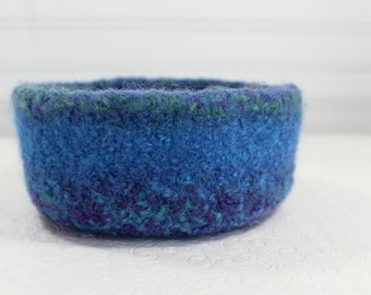 Wool Felted Blue Bowl, Purple, Turquoise, Green Wool Felt Bowl, Knit Felt Wool Bowl, Knit Felted Wool Bowl, Felted Wool Home Decor Bowl