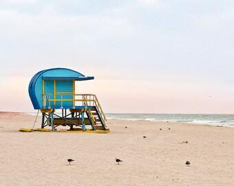 Beach Hut Lifeguard Stand Art Deco Beach House Decor Photo Coastal Wall Art Tower Miami Beach Sunrise Blue Turquoise Aqua Beach Decor