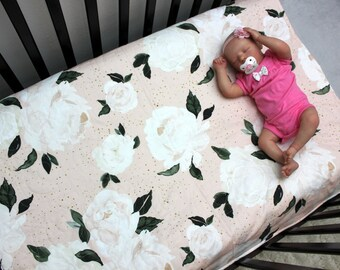 Floral Baby Bedding, Girl Crib Quilt, Blush Peach/Pink, Gold & Green Quilt