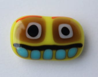 Fridge Magnet Monster Stylised Yellow fused glass Fun Retro Note holder Gift for him or her