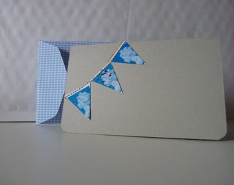 Postage stamp bunting and security paper envelope upcycled grey blue small folded greetings card