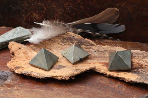 Tiny Pyrite Pyramid, Small Pyrite Pyramid, Smooth Pyrite, Pyrite Triangle, Fools Gold Pyramid, Crystal Grid, Altar Stone