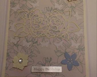 2 pack blue cream handmade birthday/greetings card