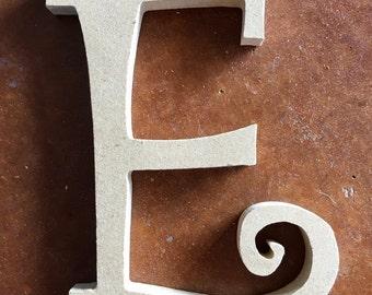 Wooden Letter E for Craft Wreath Destash