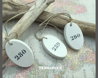 3 oval labels plaster with numbers 3 5 x 3cm