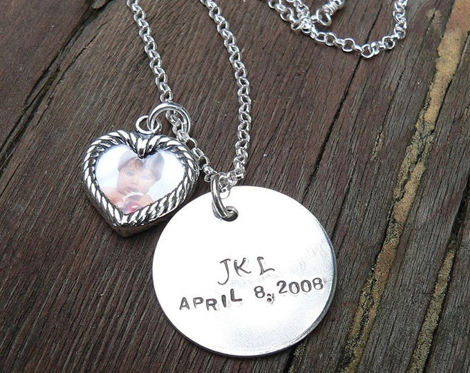 Solid Sterling Silver Hand Stamped Round Pendant and Photo Frame - Customize - Personalize - Your Message can be stamped on both sides -