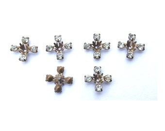 10 Vintage Swarovski beads clear crystal rhinestones in brass metal setting- RARE