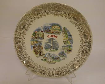 Illinois Souvenir Plate Vintage Illinois Plate