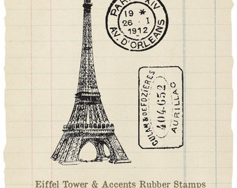 Eiffel Tower and accents unmounted rubber stamps (3 stamps)
