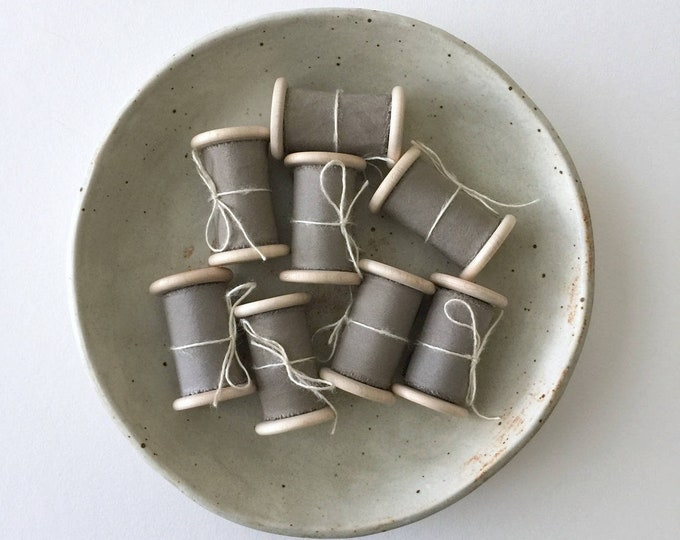 TAUPE GRAY Plant Dyed Silk Ribbon