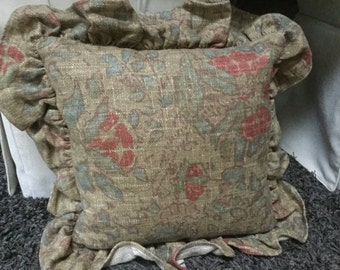 "Authentic original Ralph Lauren natural linen floral 16"" pillow blues reds with feather insert"