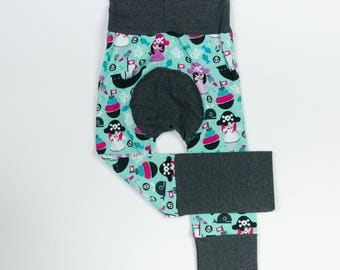 Pirate Princess and Lilac/Fuchsia/Charcoal Baby Big Butt Pants - Grow with me pants - Cloth diaper friendly - Toddler - Gift