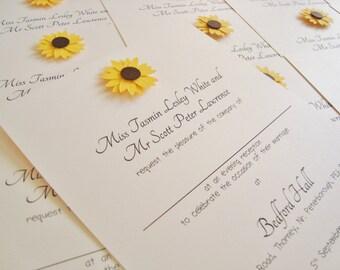 Personalised Handmade Sunflower Wedding Invitation Sample